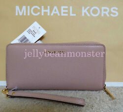 Michael Kors Mercer Travel Zip Around Continental Leather Wallet Purse Fawn NEW