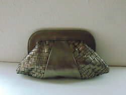 LAUREN MERKIN Metallic Bronze Leather Clutch Evening Bag Purse