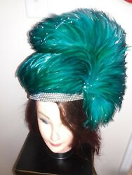 Jack Mcconnell Vintage Red Feather Hat Teal Green Feathers And Rhinestones.