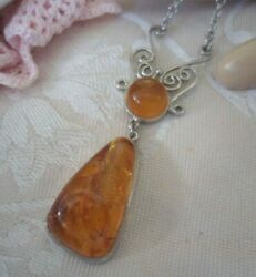 Antique Baltic Amber Jewelry Pendant Chain Necklace Sterling Silver Jewellery