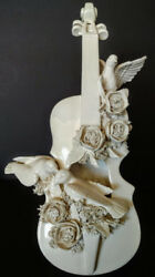 Art Pottery Rare Hand Made Incredible Full Size Decorative Violin White W-roses