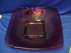 Large Art Glass Ruby Red And Yellow Platter Dish Display Console Bowl 18 By 18