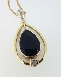 9k Onyx And Mother Of Pearl Pendant With Diamonds And 40cm Fine Curb Chain