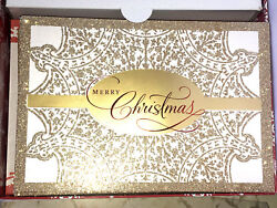 Hallmark Vintage Merry Christmas Cards + Envelope And Seal Glitter Boxed Set Of 25