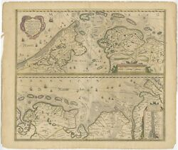 Antique Map Of The Coast Of Holland And Germany By Janssonius C.1650