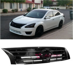 For 13-15 Nissan Altima Sedan Glossy Black Front Bumper Upper Grille Airflow