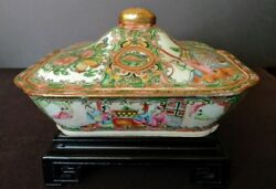 Antique Chinese Canton Famille Rose Lidded Dish Inside Decorated Too 1920's Fine