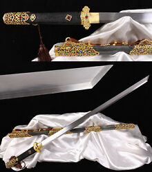 High Quality Folded Steel Full Tang Sword Sharp Blade Hand Forge Chinese Swords