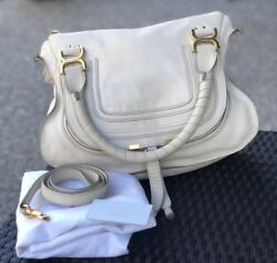 UEC! Auth Chloe Marcie Ivory Bambi Dot Medium Handbag 2Way Satchel