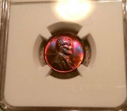 1940-s Lincoln Wheat Cent Ms63 Rb Ngc Monster Toned