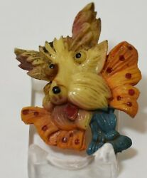 Vintage 1940's Celluloid Scottish Terrier Pin w Large Bow Tie and Tassels