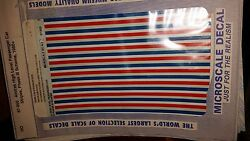 Ho Micro-scale Decals 87-950 Amtrak High Level Passenger Car Stripes Phase 3