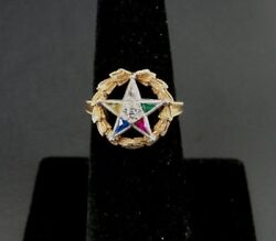 Vintage Eastern Star 14k Yellow Gold Wreath Multi Color Stones Ring Size 5 3/4