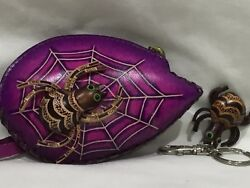 HAND MADE EMBOSSED GENUINE LEATHER SPIDERLEAF COIN PURSEWRISTLET