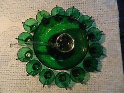 Anchor Hocking Forest Green Punch Bowl W/ Glass Ladle And Base