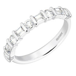 1.00ct Round And Baguette Cut Diamonds Half Eternity Wedding Ring In 18k Gold