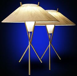 Pair Iconic Gerald Thurston Lightolier Midcentury Atomic 50and039s Vtg Lamps Tripod