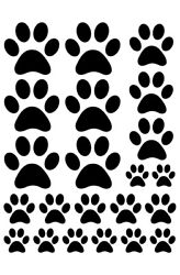PAW PRINT WALL DECALS IN BLACK
