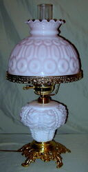 Vintage White/pink Cased L.g. Wright Consolidated Base Beaded Drape Lamp