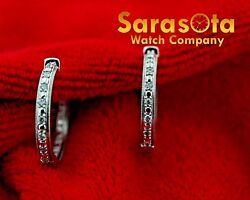 14k White Gold .50ct Diamonds 23mm Hoops Womenand039s Earringand039s