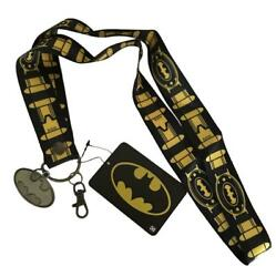 Batman Lanyard ID Holder with Metal Charm Utility Belt Design Extra Wide Lanyard