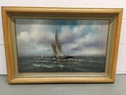 Edward T. Gibbs American-late 19th Century Pastel Painting Of Ship 16.5andrdquox27.5andrdquo
