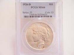 1926-d 1 Pcgs Ms66 - Peace Silver Dollar - Bright White And Lustrous