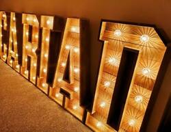 Large Lightup Rustic Letters For Sale Wood 4ft Cariad Cabochons Weddings Events