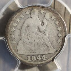 1844 Seated Liberty Dime Pcgs Vg8 Rev Tyeand039s Coin Stache 9945279