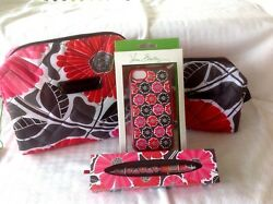 Vera Bradley PUFFY COSMETIC CASES- LG + SM MAKEUP BAGS +CELL CASE +PEN  Save $42