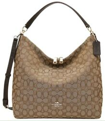 New Coach Celeste Convertible Hobo In Outline Signature (F58327)-khakibro
