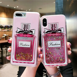 New Dynamic Perfume Bottle Liquid Glitter Phone Case Cover For Iphone/samsung