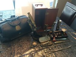 Vintage Bausch And Lomb Microscope, Assorted Medical Equipment Tools, Doctor's Bag