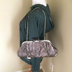 NEW Judith Leiber Evening Shoulder Bag Clutch Overture Studs Python Print Silver