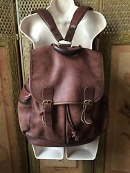 vtg 90s COACH Brown Glove Tanned Cowhide Leather XL Backpack No 17S-0520
