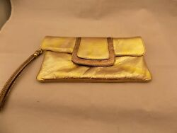Laura Di Maggio Gold Bronze Clutch Evening Bag Metallic Gold Look Leather