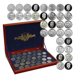 1971-78 32 Coin Full Eisenhower Dollar Unc/proof Set In Wood Collectors Box Pds