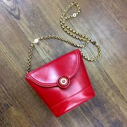 Vintage Tiffany & Co. Small Red Leather Gold Chain Strap Evening Purse Bag