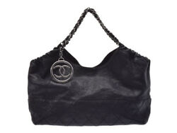 Authentic Chanel Coco Cabas Women's Leather Tote Bag Black 805000916488000