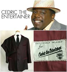 3 Button Suit  Tux Made for CEDRIC the ENTERTAINER 50R Red Velvet Trim