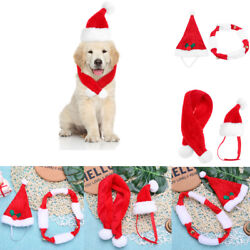 Pet Christmas Hat Scarf Kit Cats Dogs Puppy New Year Party Xmas Decor Ornaments