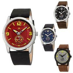 Menand039s Joshua And Sons Jx135 Quartz Sports 60 Second Sub Dial Leather Strap Watch