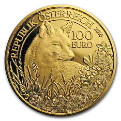 2016 Austria Prf Gold €100 Wildlife In Our Sights The Fox - Sku 104862