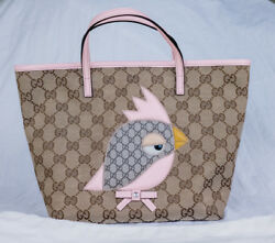 Authentic Gucci Bag Zoo collection parrot girls bag tote canvas and leather
