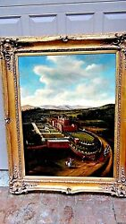 Thomas Wolfeearly 20c,franceoil On Canvas Painting Of A Large French Manor