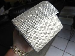 Whiting & Davis Mesh Metal Fold Over Lunch Box Style Purse Clutch w Long Handle