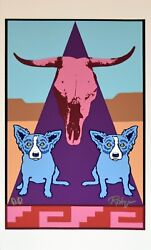 George Rodrigue Blue Dog Pueblo Puppies Silkscreen Print Signed Numbered Artwork