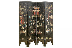 A Rare And Large Chinese Qing Dynasty Ebonized And Inlaid Four Panel Screen.