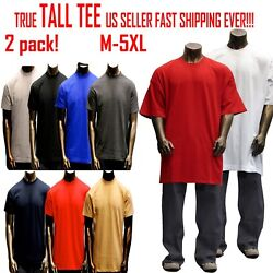Big And Tall Tee Men Heavy Weight Plain S/s T-shirts Crew Neck Solid 2 Pack