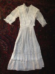 Antique Vintage White Lace Embroidered Dress 1920's